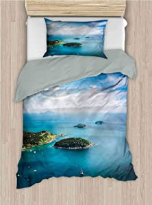 alisoso Island 2-Piece Comforter Cover Set KOH Kae at The Ocean Boats Full 86x96 Inch Breathable and Skin-Friendly Bedding Set