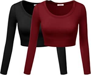 b7d344c90d6 Simlu Womens Crop Top Round Neck Basic Long Sleeve Crop Top with Stretch  Reg and Plus