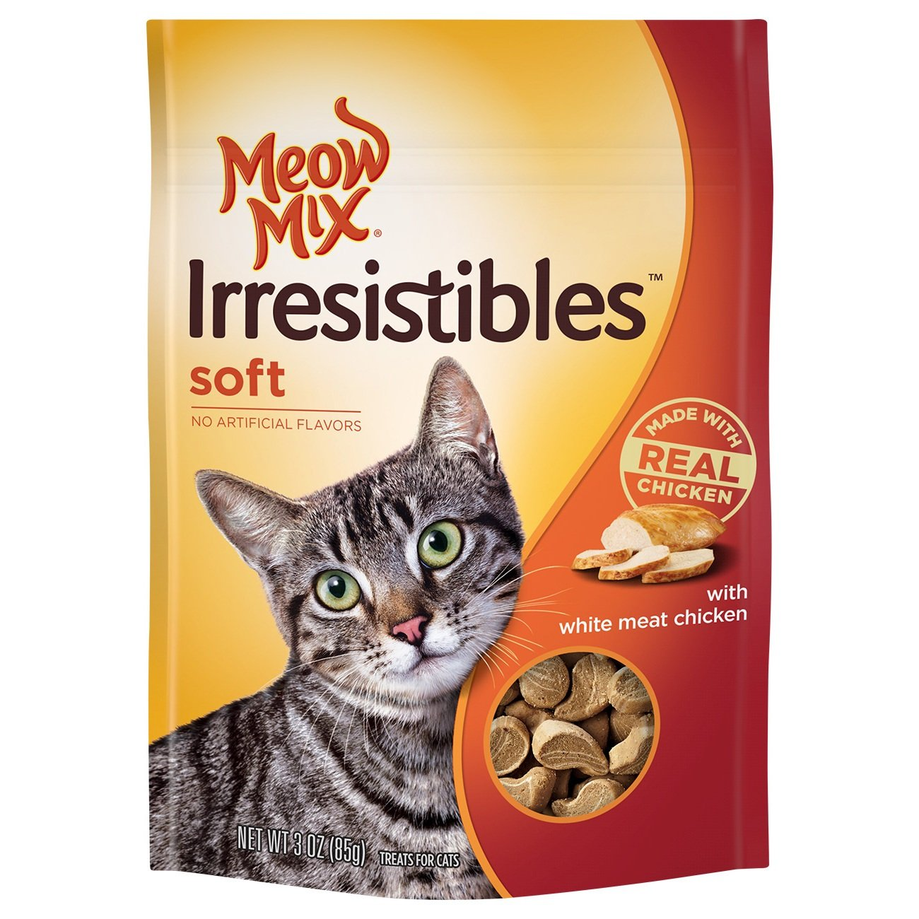 Meow Mix Irresistibles Soft Cat Treats With Real White Meat Chicken (Pack Of 10), 3 Oz. by Meow Mix