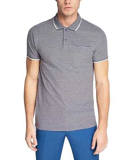 ESPRIT Collection Men s Po Jaq Pi Short Sleeve Polo Shirt, Blue (Navy),  Small  Amazon.co.uk  Clothing 0e441e4f88b3