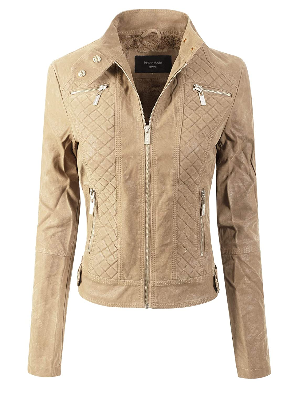 Ijkw026 Khaki Instar Mode Women's Long Sleeve Zipper Closure Moto Biker Faux Leather Jacket