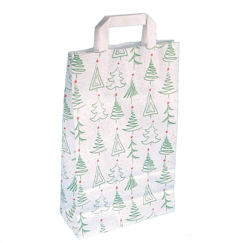 Papiertragetaschen mit Flachhenkel wei/ß 70 g//qm Motiv Weihnacht 22 +10 x 36 cm, 10 St/ück