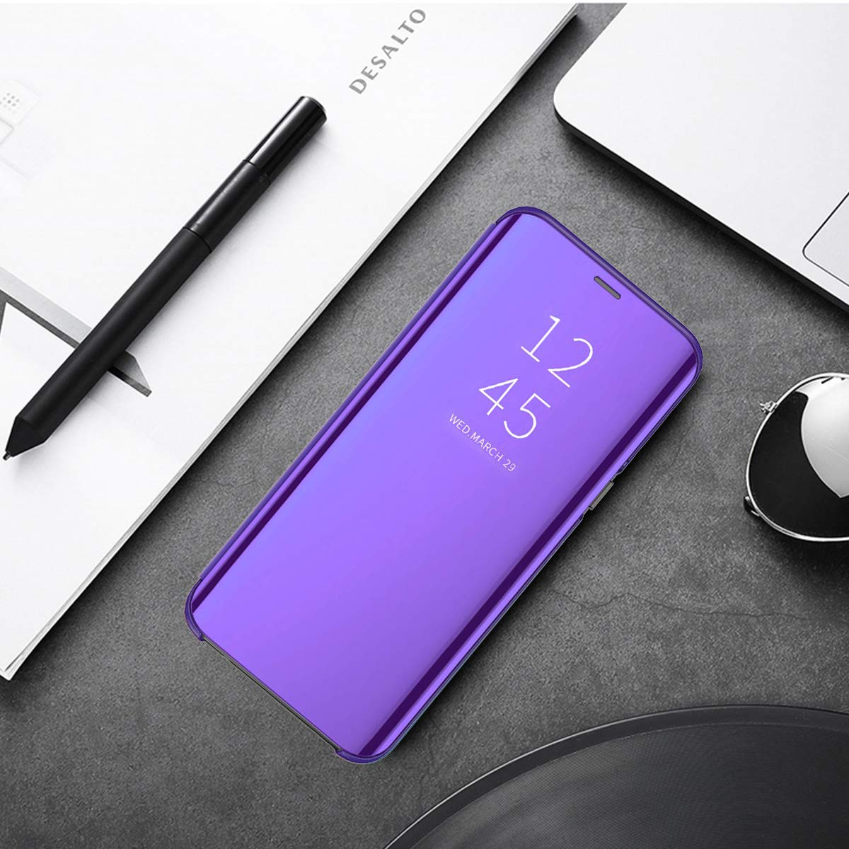 niter for Samsung Galaxy S10|S10 Plus|S10e|S10 5G Case Clear View Cover Slim Mirror Plating PC Full Body Protective Standing Cover