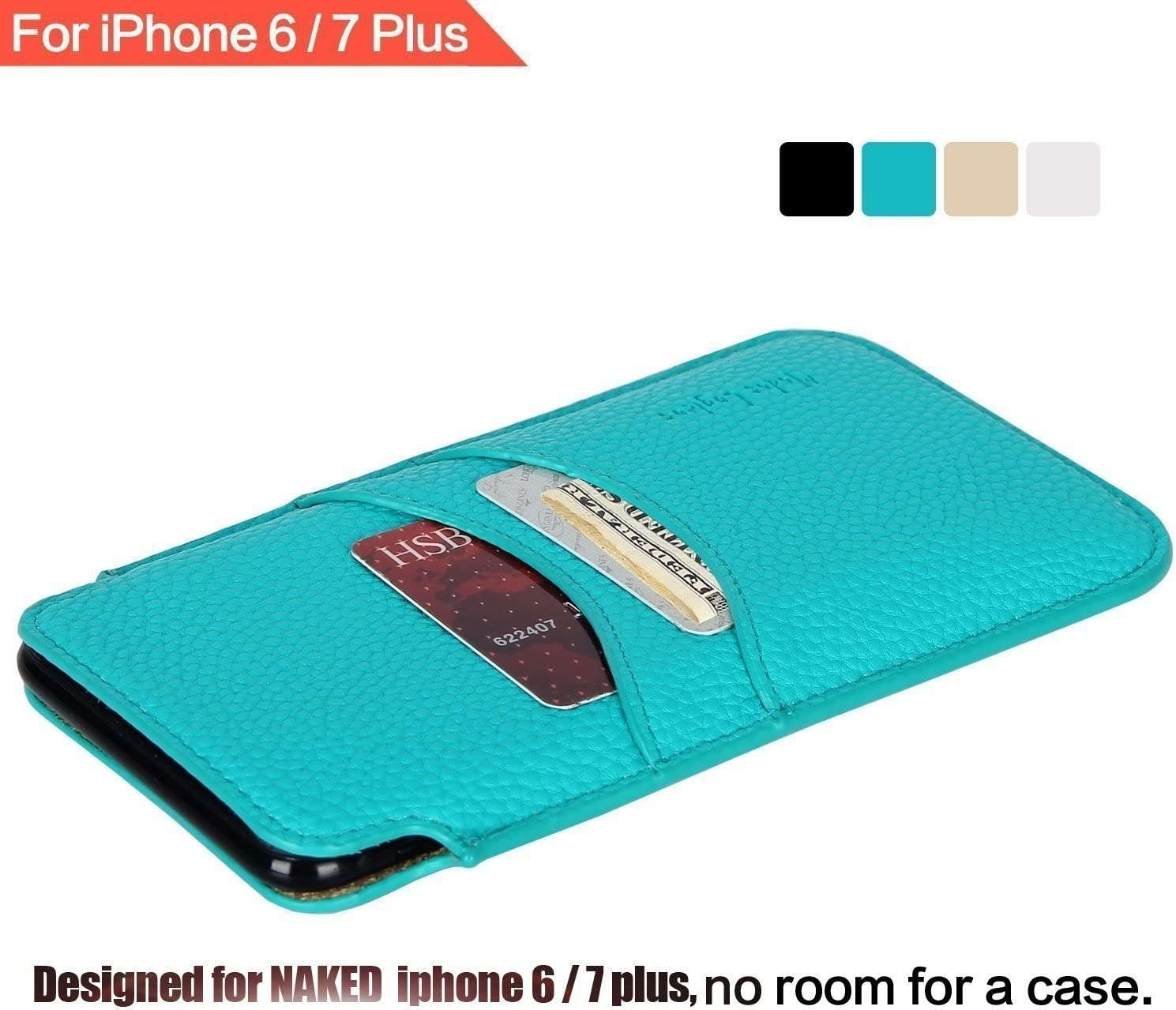 """Apple iPhone 8 Plus/iPhone 7 Plus/iPhone 6 Plus/iPhone 6S Plus 5.5"""" Sleeve , 2 Card Slots , Elastic Pull Strap , PU Leather Protective Sleeve Pouch Cover , Professional Executive Case Design - Teal"""