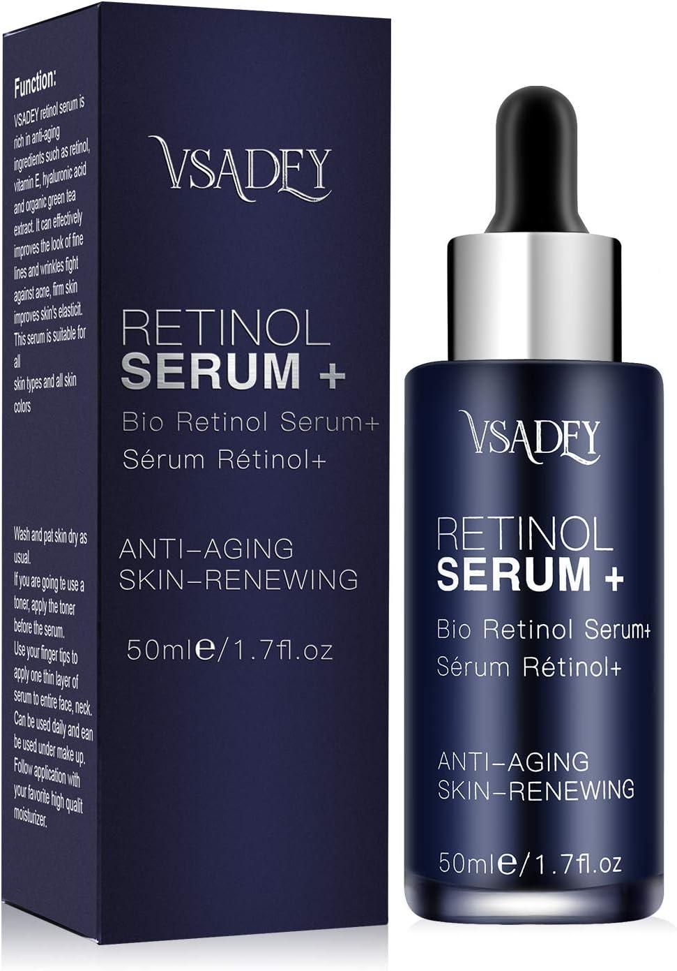 Vsadey Serum+ con Retinol Cara de 5% con ácido hialurónico vitamina E suero Antiarrugas antienvejecimiento para la piel. Mejora los bolsillos debajo del suero para los ojos 50ml
