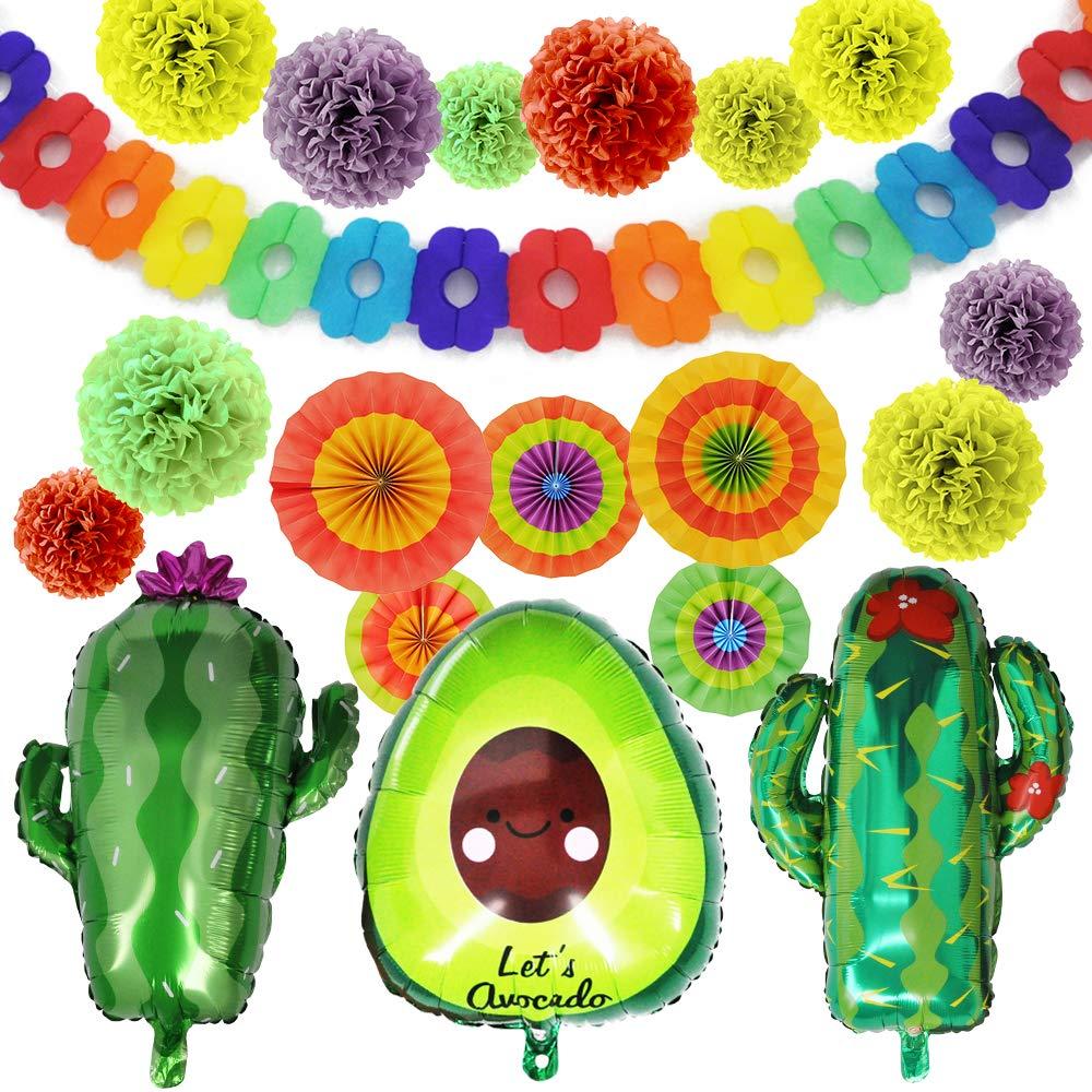 19 PCs Cinco De Mayo Fiesta Foil Balloons with 24'' Large Cactus & 30'' Avocado Balloons, Tissue Pom Paper Flowers, Hanging Paper Fans & Backdrop Banner for Cinco De Mayo Party Decoration, Mexican Sombrero Taco Party Supplies Décor, Dia De Muertos.