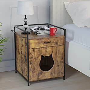 Yechen Cat House Side Table, Cats Furniture Cabinet, Cat Litter Box Enclosure, Nightstand Pet House with Drawer and Pad, Litter Box Furniture, Indoor Cat House