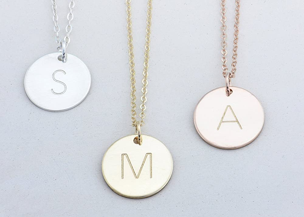 Personalized Circle Necklace \u2022 Custom Circle Necklace \u2022 Dainty Gold Disc \u2022 Rose Gold Disc \u2022 Silver Disc \u2022 Delicate Disc \u2022 Dainty Tag