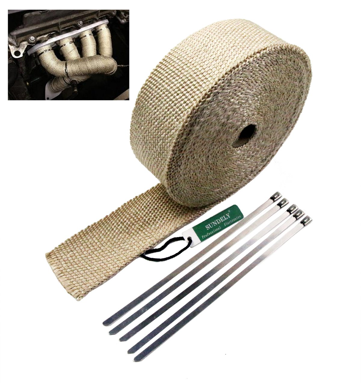 SUNDELY® Cream Colour Glassfiber Exhaust Pipe Header Heat Wrap Resistant Downpipe Tape Roll 2' X 49' (5cm X 15m) + 5 Metal Ties