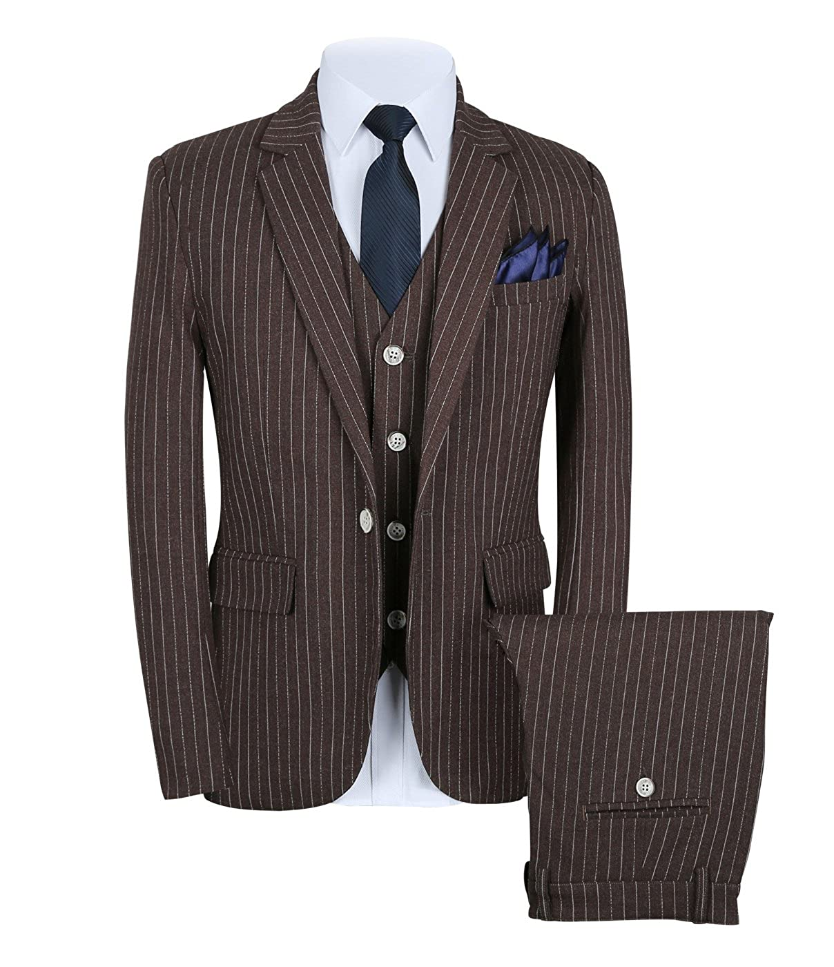 MOGU Mens Pinstripe Suit 3 Piece Slim Fit Casual Dress Suits Blazer+Vest+Pants