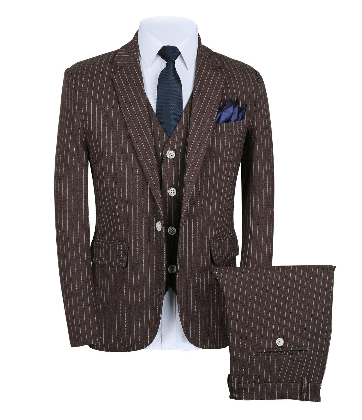 Mens Pinstripe Suit 3 Piece Slim Fit Casual Dress Suits Blazer+Vest+Pants US Size 32 (Label L) Brown