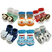 ALLYDREW Non-Skid Cartoon Animal Bootie Slipper Socks for Babies (Set of 6)