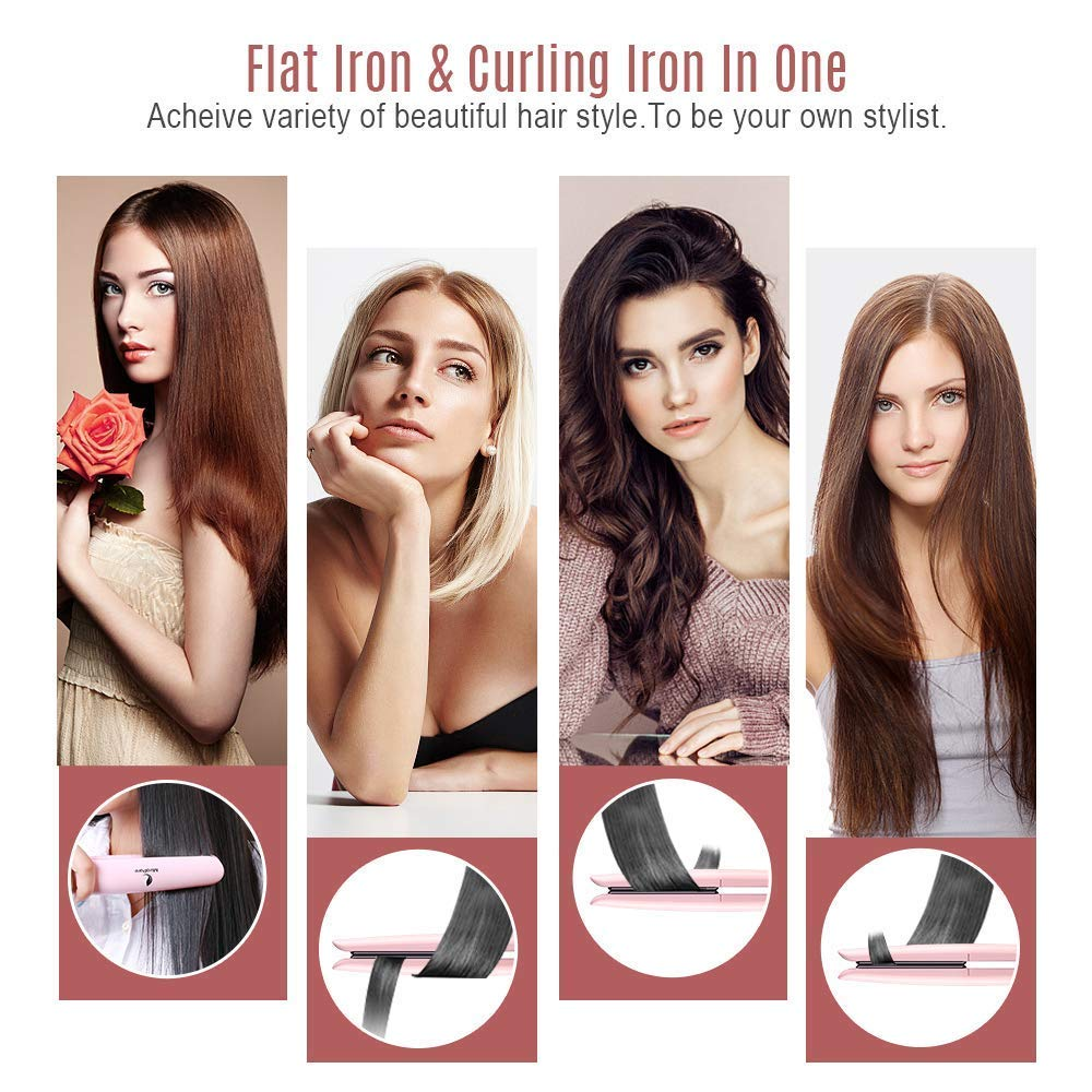Flat Iron for Hair, Hair Straightener with Adjustable Temp 2 in 1 Ceramic Plates