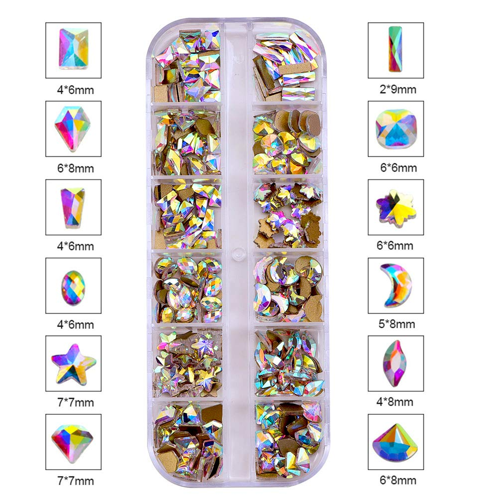 BLINGINBOX 120 Pcs Multi Shapes Glass Crystal AB Rhinestones Nail Art Set Nail Gems Iridescent Clear Class Flat Back Shiny Nail Jewels for Nail Art DIY Crafts Phones Clothes Shoes Jewelry Bag (Kit 2) by BLINGINBOX
