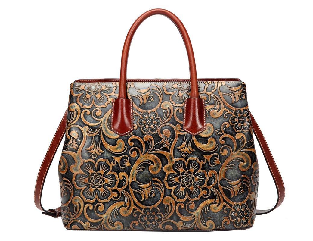 Jair Retro Floral Embossed Genuine Leather Crossbody Tote Bags Handbags for Women (Bronze New)