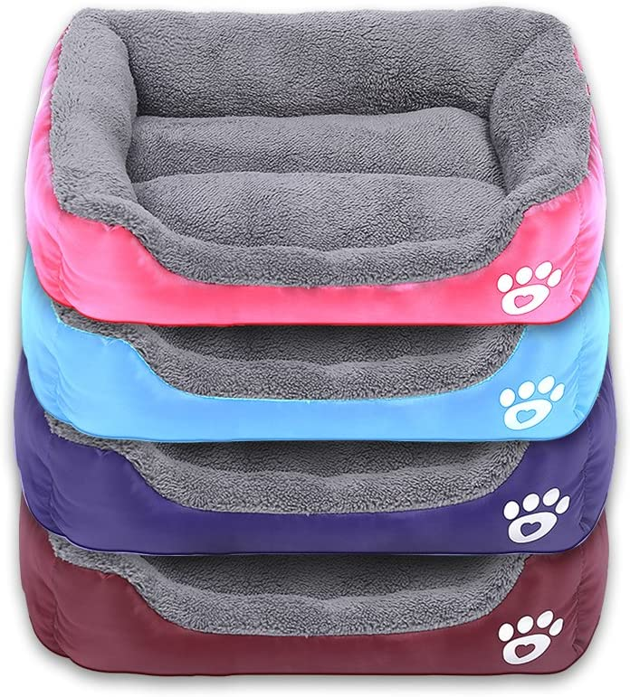 Powerking Letto per Cani Tappetino per Animali Domestici Impermeabile e Cuscino per Dormire per Gattino e Piccolo Cucciolo Rosso Morbidi e Lavabili
