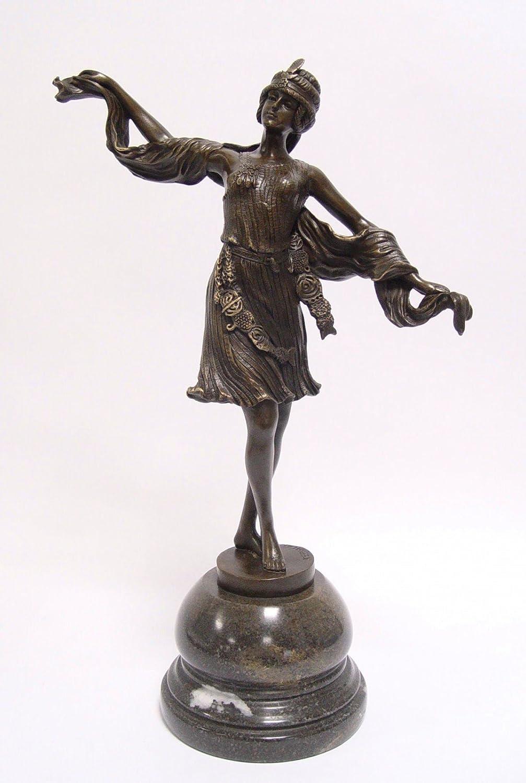 ART DECO BRONZE FIGUR ORIENTALISCHE TÄNZERIN Bronzestatue MARMORSOCKEL