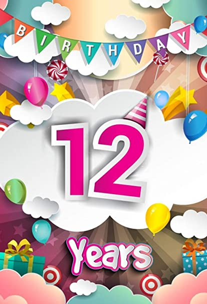 5x7ft Happy 12th Birthday Photography Background Balloons Rainbow White Clouds Gift Box 12 Years Old