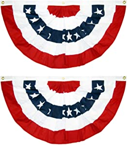 PINCHUANG 1.5x3Ft USA Patriotic Pleated Fan Flag - 2PC American US Flag Bunting Banner Patriotic Bunting Flag Stars and Stripes Flag Bunting for Memorial Day The 4th of July and Labour Day