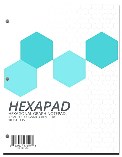 amazon com hexagonal graph paper notepad 100 pages 1 4 inch side