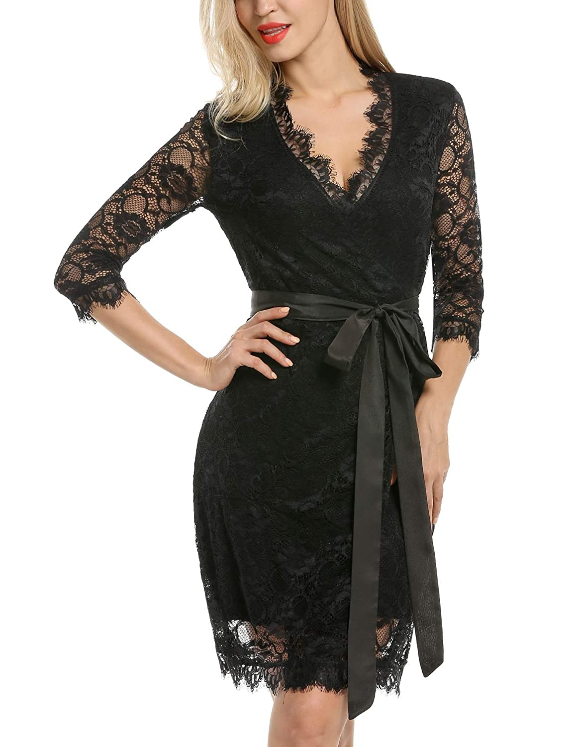 ANGVNS Women's V Neck 3/4 Sleeve Wrap-Front Lace Cocktail Midi Dress with Belt