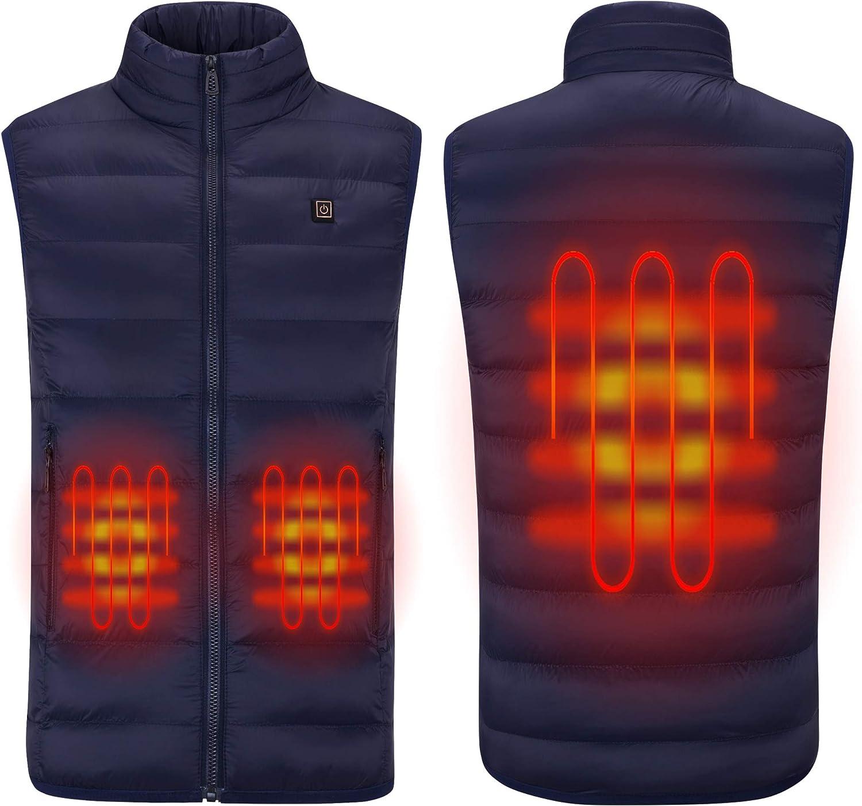 Gilet riscaldato intelligente leggero gilet caldo riscaldante invernale con collo in pile resistente al freddo per escursioni in campeggio allaperto S-L gilet riscaldante elettrico di ricarica USB
