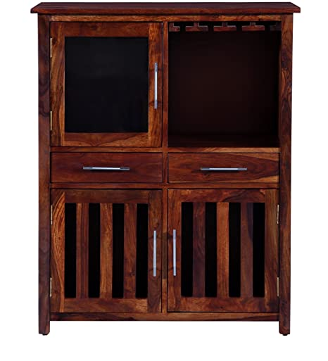 Solid Wood [ Sheesham Wood ] Home Bar Furniture Bar Cabinet in Honey Oak Finish by Made Wood