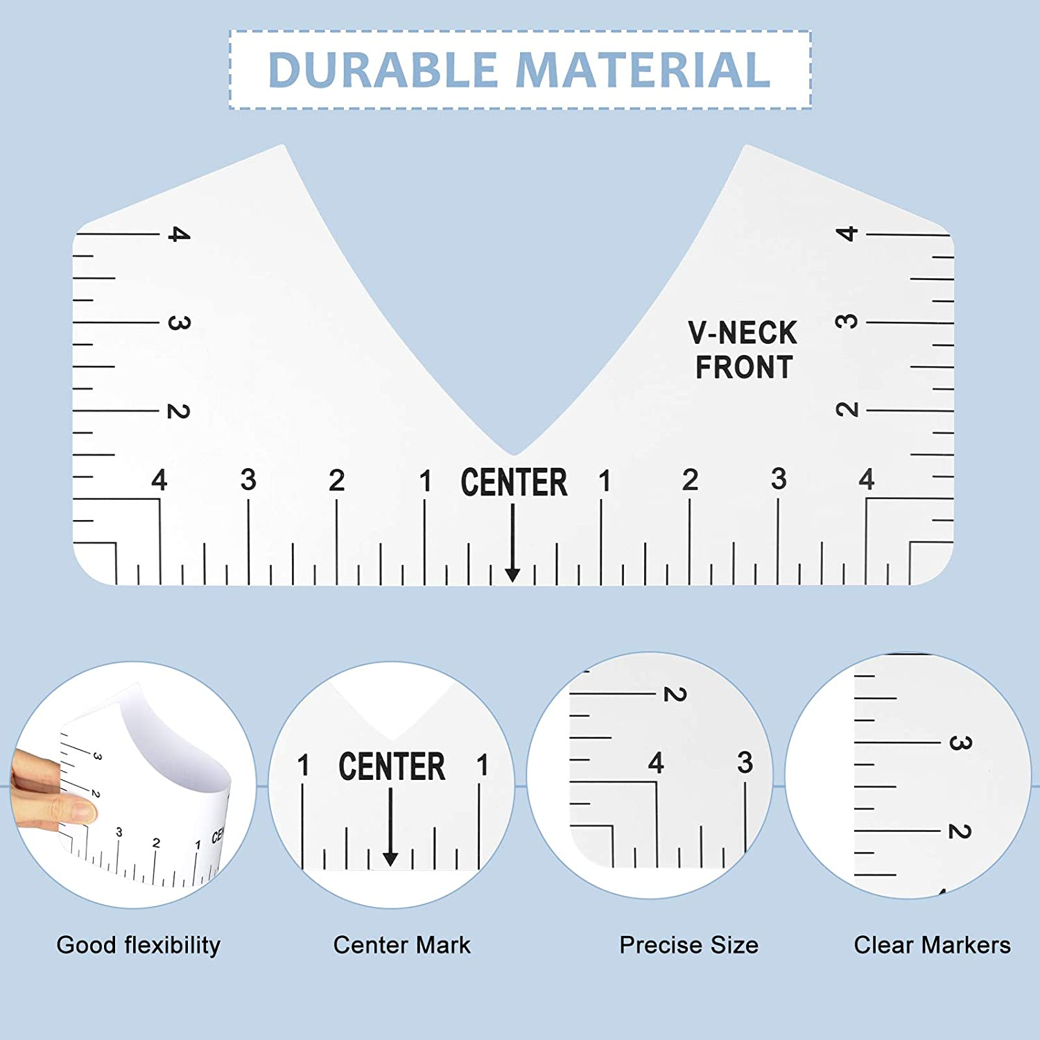 Vinyl Precise T-shirt Measurement Ruler with V Neck Round Neck Youth Child 4Pcs Sturdy Soft Ruler Guide for Adult T-shirt Alignment Ruler