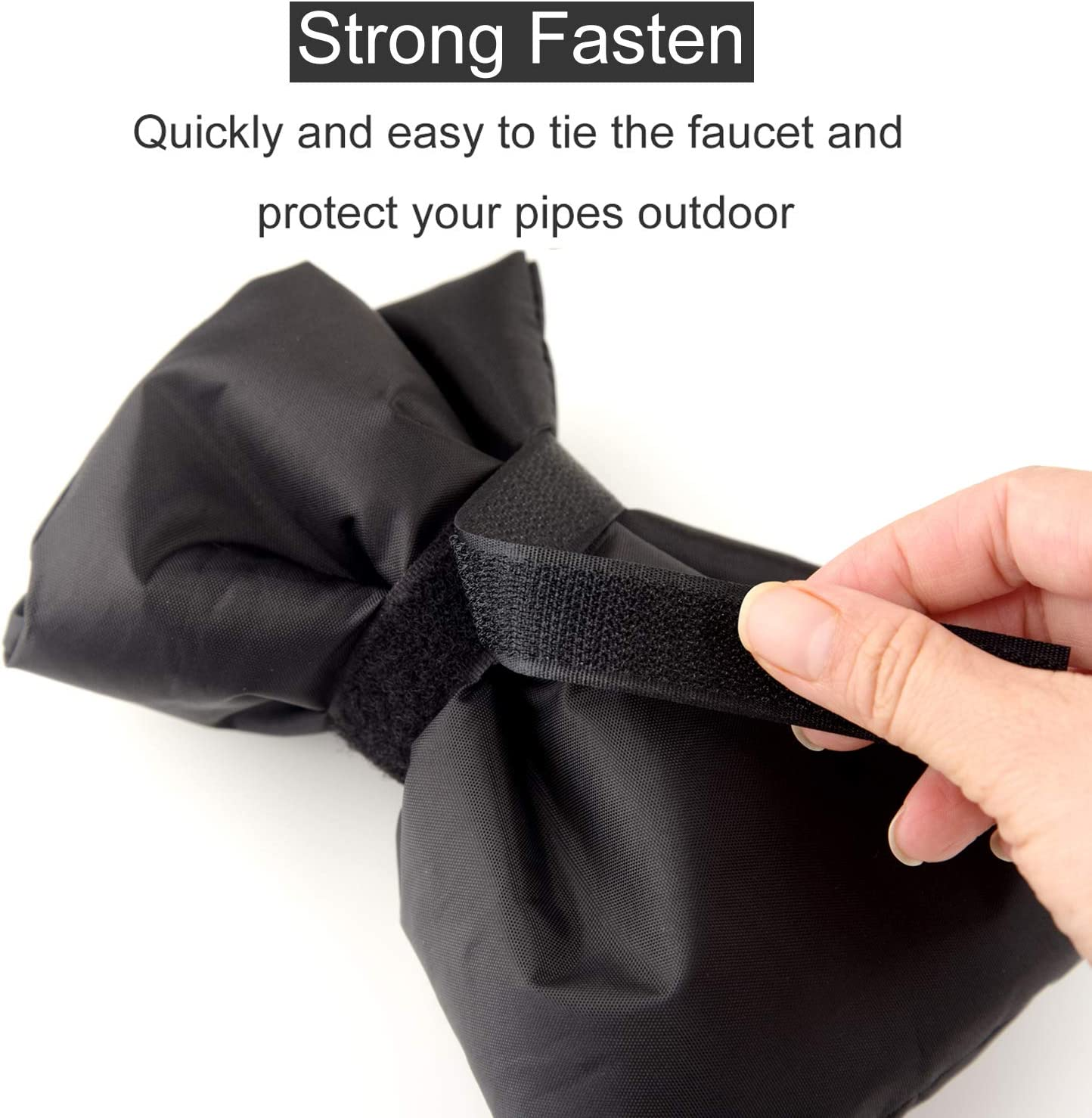 Size 8.66 x 7 inches(Black FEPITO Outdoor Tap Cover Frost Protector Faucet Cover Socks Garden Tap Jackets for Freeze Protection
