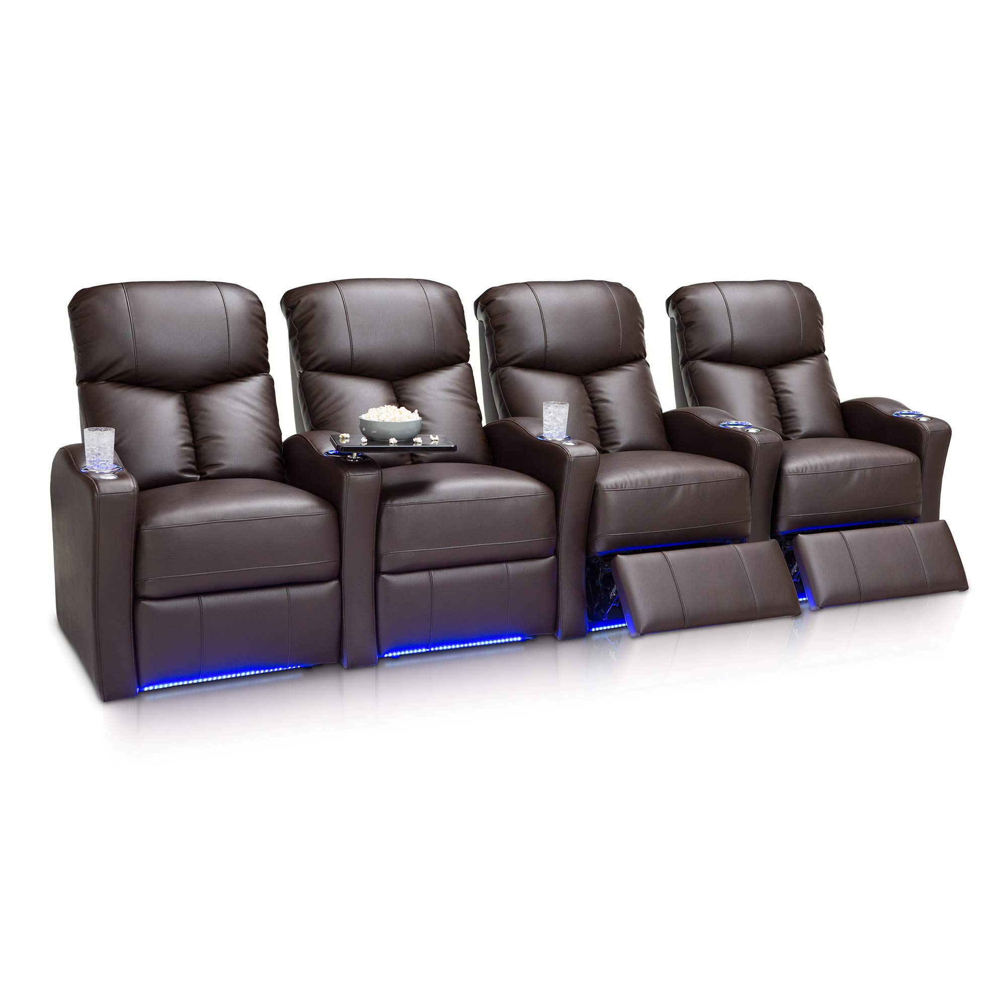 Seatcraft Raleigh Home Theater Seating Power Recline Leather Gel (Row of 4, Brown) by Seatcraft
