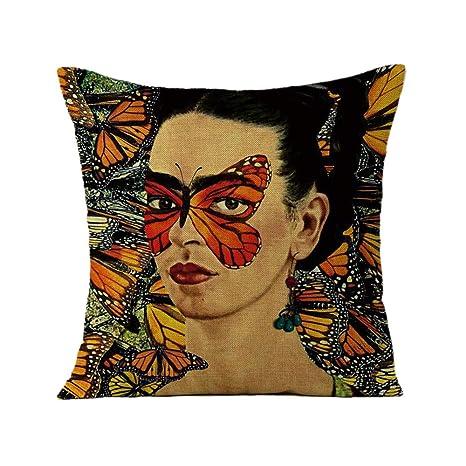 FEIRAN 3D Impreso Frida Kahlo Autorretrato Funda de Almohada ...