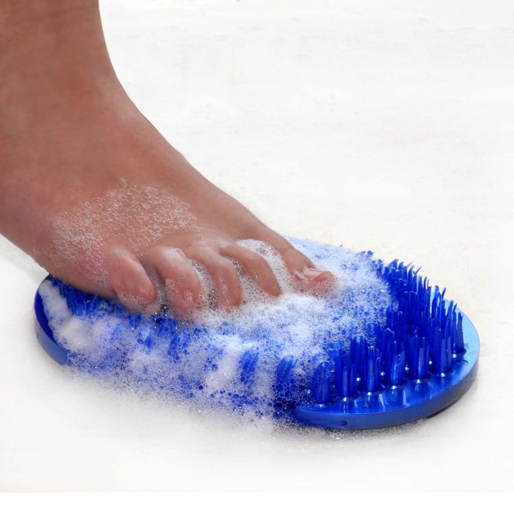 Soapy Toes Travel-Sized Foot Scrubber & Massager (Pearl Blue) - Foot Brush Cleans and Invigorates Feet without awkward bending and balancing, Suctions to tub or shower floor by Body & Sole
