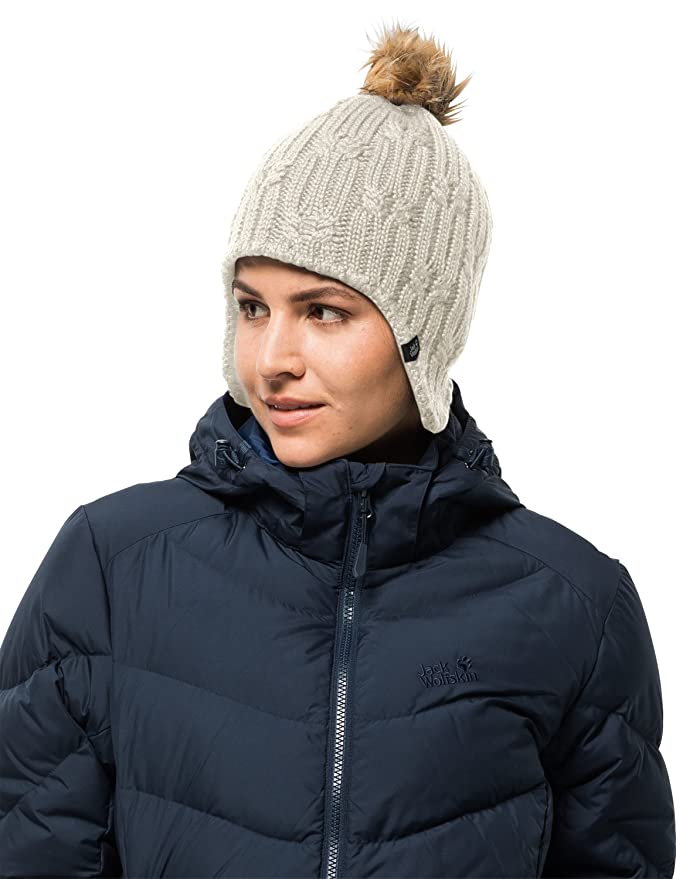 4aa13988890 Jack Wolfskin Women s Storm Lock Braid Windproof Knitted Beanie With Faux  Fur Pom-Pom Hat  Amazon.co.uk  Sports   Outdoors