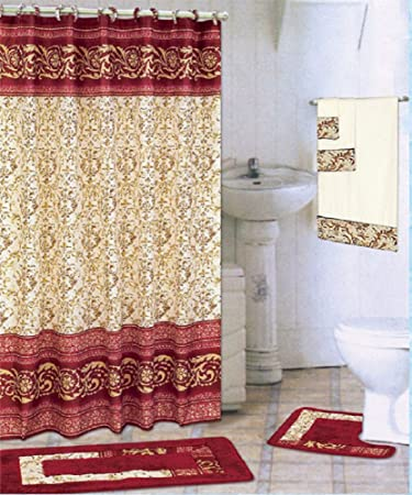 Burgundy 18 Piece Bathroom Set 2 Rugs Mats 1 Fabric