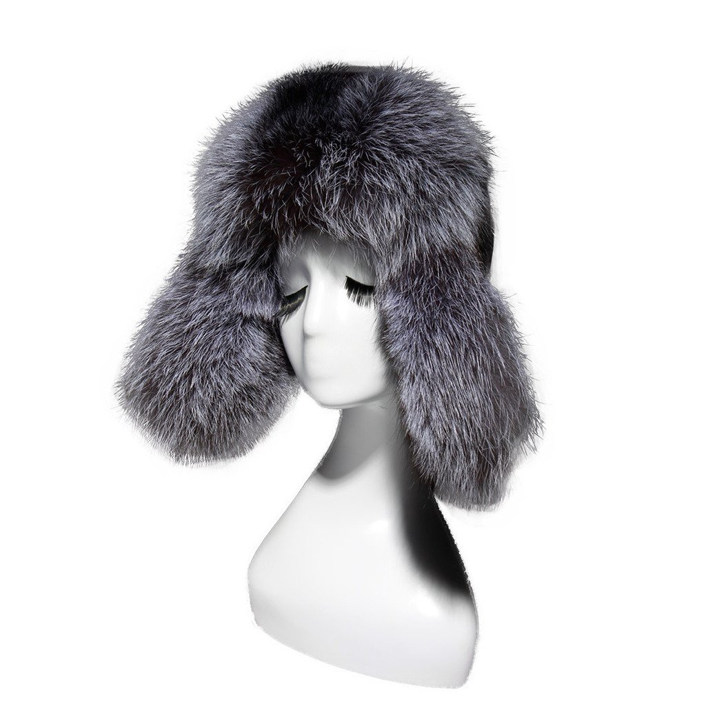 Fur Story 15666 Women's Real Silver Fox Fur and Genuine Sheep Leather Hat FS254