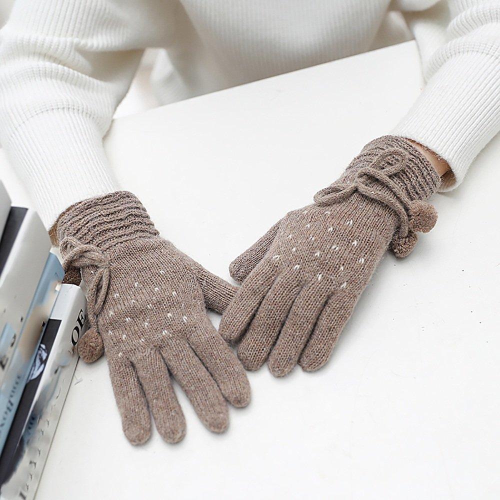LJHA Guanti a maglia donna Spessore Autunno / inverno caldo Sport all'aperto / Guidare / Guanti da equitazione Sono disponibili 5 colori ( Colore : A )