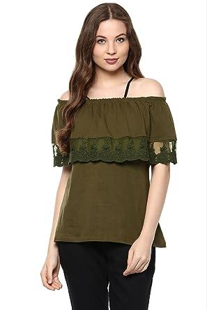 fb0358a99eb746 The Vanca Women Olive off-shoulder top(TSF400829-Green-XL): Amazon ...