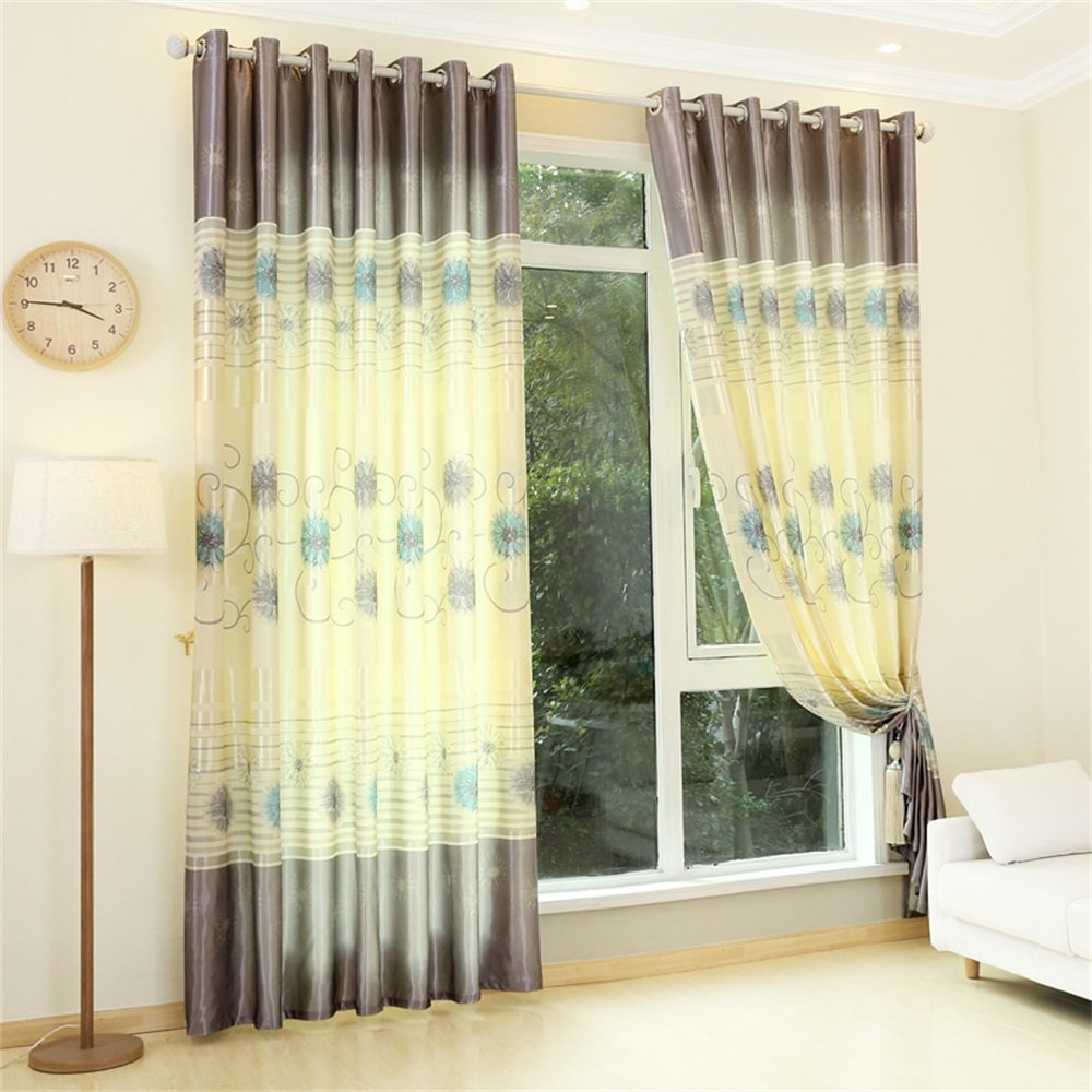 TIANTA- A Set Of 2 Pcs Bedroom Living Room Balcony Semi-shading Satin Fabric Curtain Simple Modern Finished Product decorate ( Size : 3.42.7m (widthheight) )