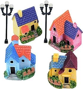 Fairy Garden Accessories, Fairy House Kit for Home Kid Adult, Mininature House Castle Garden Figurine, Mini Road Light, Tiny Terrarium Kit for DIY Craft Garden Decoration