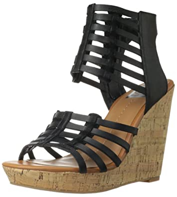 DV by Dolce Vita Women's Tila Wedge Sandal,Black Leather,9 ...