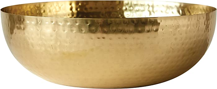 "Creative Co-Op DA7392 Round Hammered Metal Bowl, 14"", Gold"