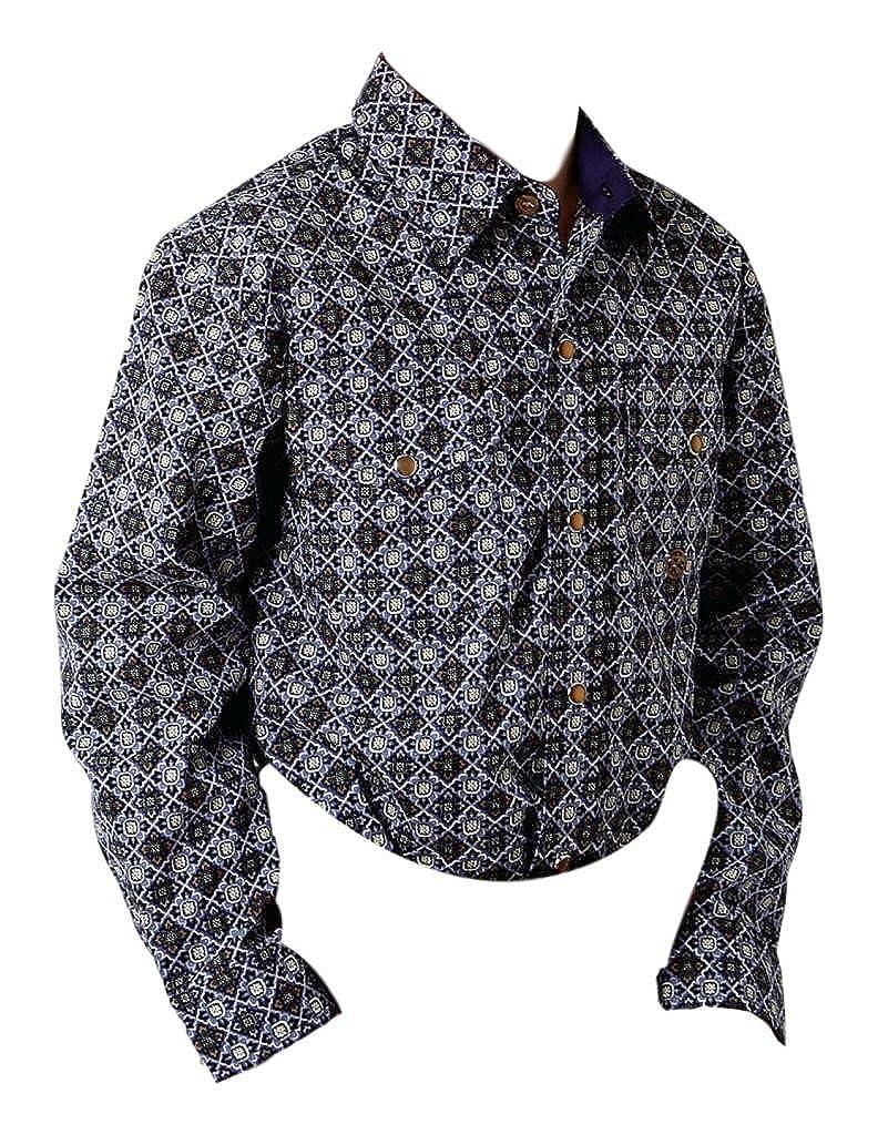 Roper Boys Kids Purple 100/% Cotton Plum Foulard L//S Shirt