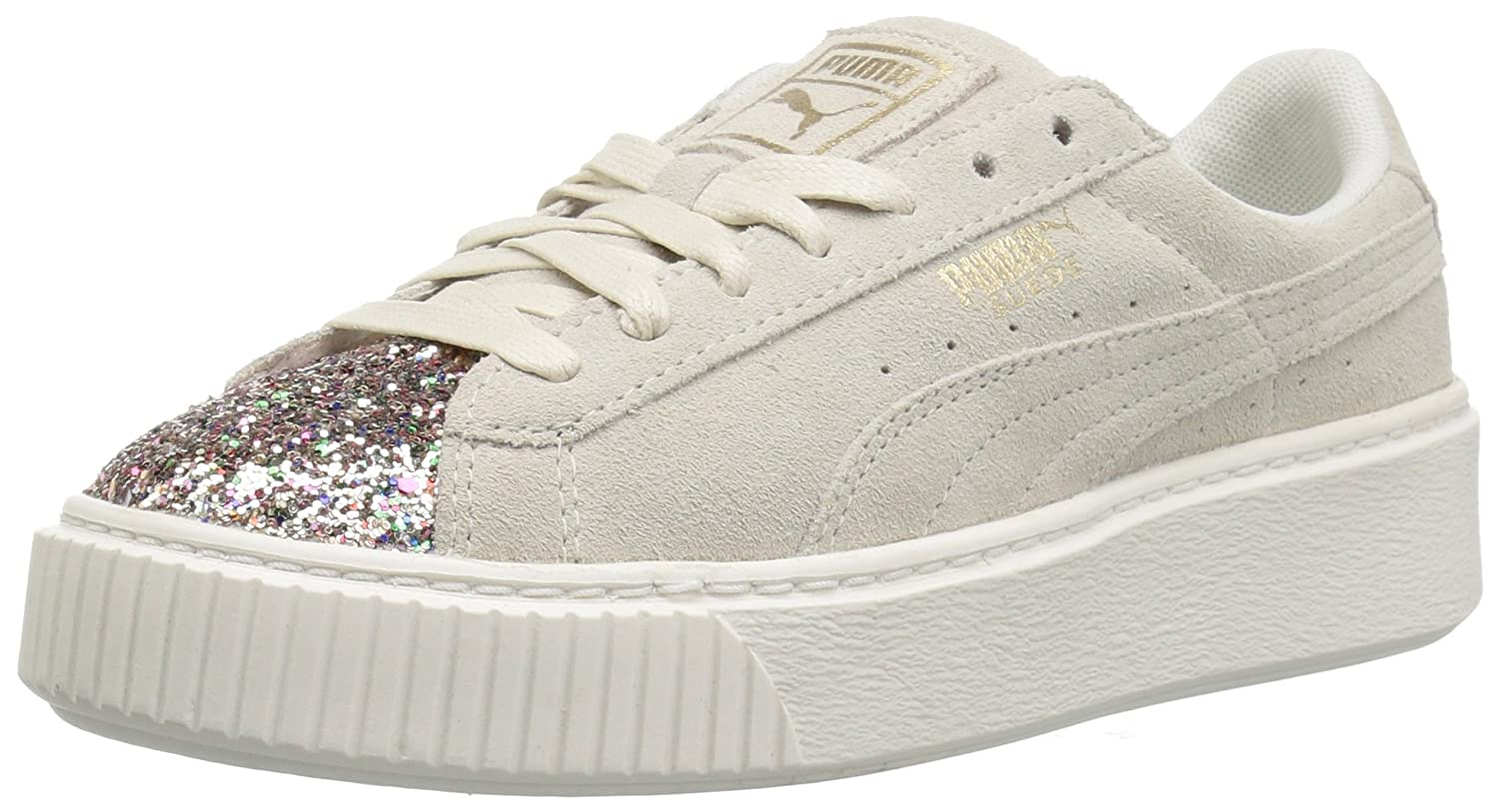 PUMA Women's Suede Crushed Gem Platform B06XWKJ1F8 7 B(M) US|Marshmallow-metallic Gold