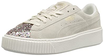 PUMA Womens Suede Crushed Gem Platform Marshmallow-Metallic Gold 9 M US
