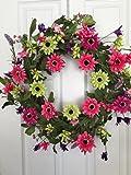 Pink Stardust Silk Floral Wreath Front Door Indoor Seasonal Decor Spring Summer