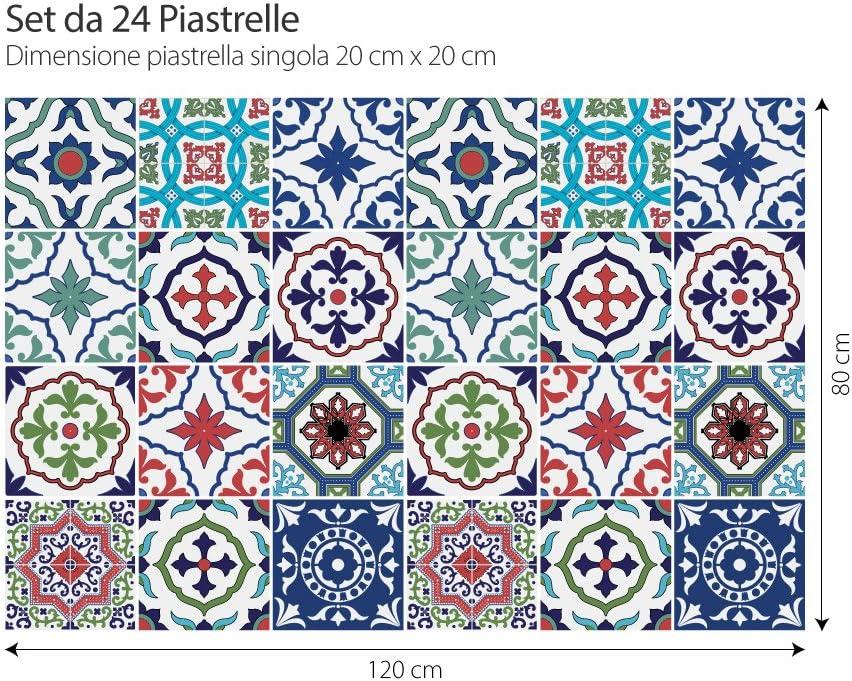 Autocollants de carreaux taille 15x15 cm Fabriqu/é en Italie Autocollants en PVC PS00036 pour carreaux de salle de bain et cuisine autocollants de conception paquet de 24 pi/èces Lisbonne