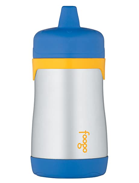 THERMOS FOOGO Insulated Stainless Steel 10oz Hard Spout Sippy Cup, Blue/Yellow