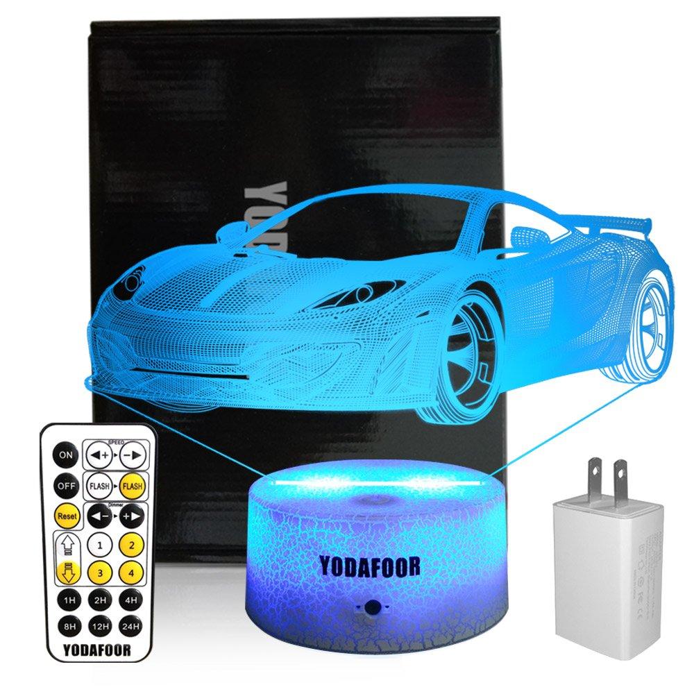 yodafoor 3d Night Lights for Kids Baby Teen子供3dサッカーIllusionスポーツファン、マルチカラーリモート用ランプ、Great誕生日パーティーギフト部屋装飾 B07CYQQLY2 14172  Car White