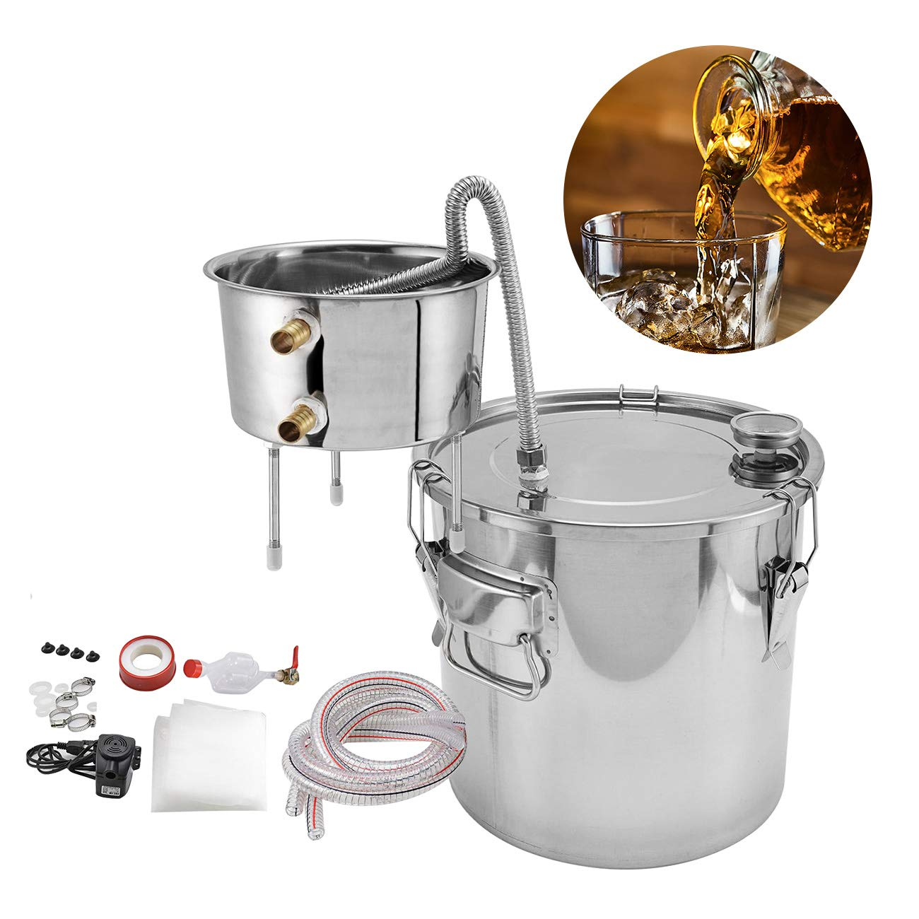 BEAMNOVA Moonshine Still Complete Kit 5.81 Gallon Stainless Steel Thermometer Water Pump Spirits Alcohol Water Distiller Essential Oils Hydrolat Maker