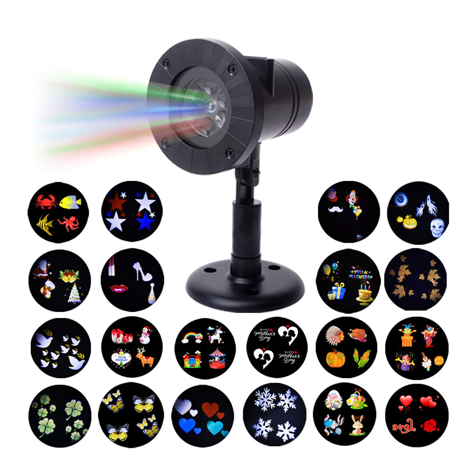 Outdoor Waterproof Projection Lamp, 12 Picture Card Remote Control Projection Snowflake Light, Film Lamp for Card Decoration Lamp